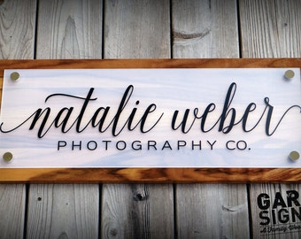 Custom Store Front Business Sign and Store Display Sign with Logo 10 x 26 inches (shown in Sapwood)