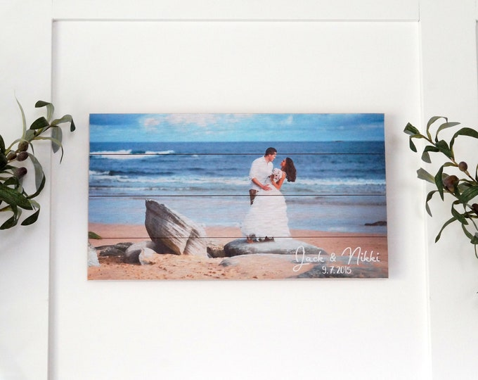 Pallet Sign Photo Print on Wood, Beach Picture Custom Printed in Full Color on 10 x 18 Pallet Sign