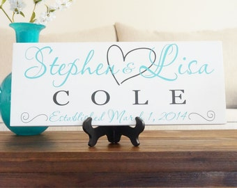 Personalized Family Name Sign Established Plaque Painted Sign 7x18  Makes a Fantastic Anniversary or Wedding Gift