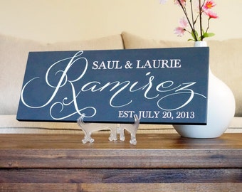 Personalized Family Name Signs Hand Painted Custom Wooden Sign Last name Wedding Gift Established Anniversary Custom Personalized Sign 7x18
