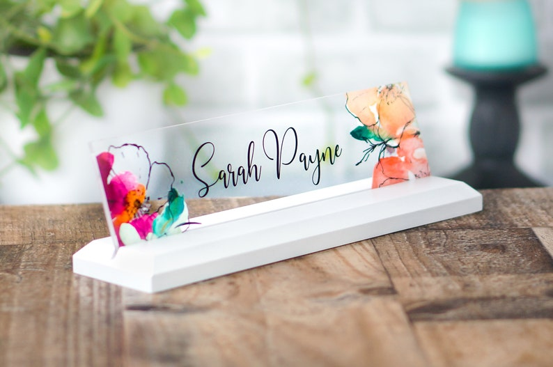 CoWorker Gift Desk NamePlate Personalized Professional Office image 0