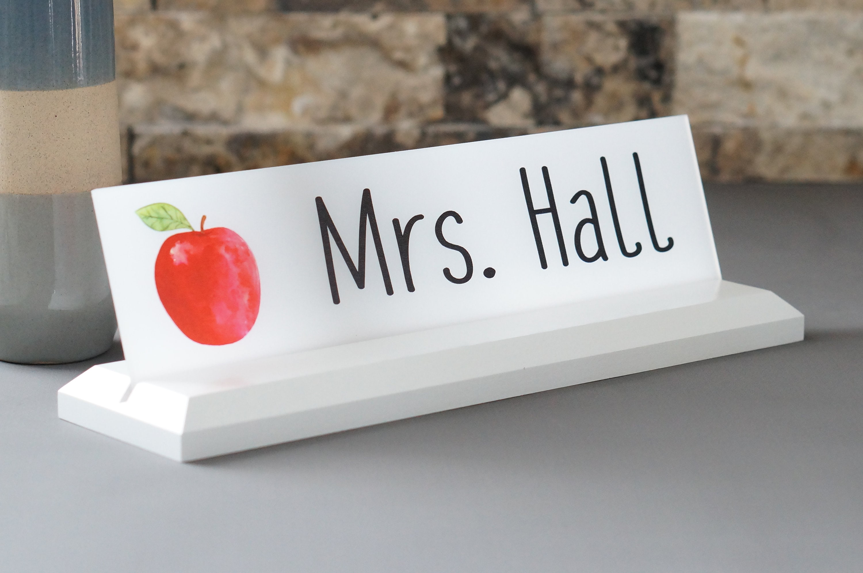 Teacher Classroom Desk Name Plate With Logo Personalized Wood Desk