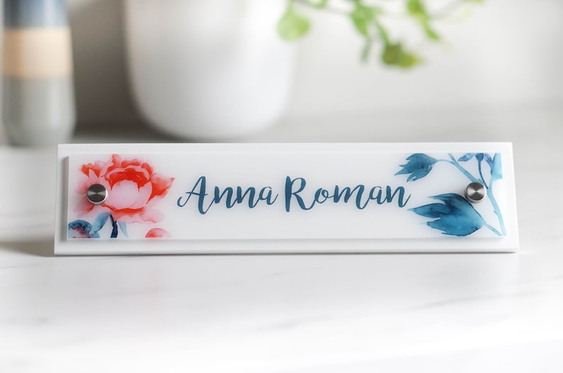 Wooden Desk Name Plate Work Decor 10 x 2.5 image 3