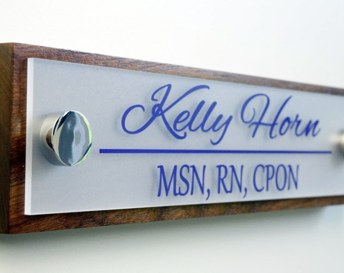 Office Door Name Plate Personalized Office Accessories and Wood Door Sign Professional Gift 10 x 2.5 inches long