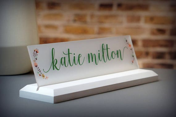 desk accessories coworker gift wood desk name plate size 10 x etsy