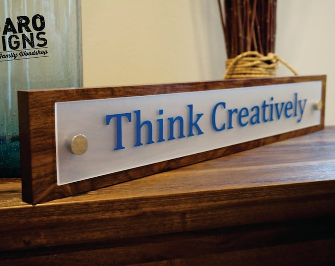 Personalized Sign Office Decor Wood Sign Business Name or Custom Phrase 22 inches long x 4 inches tall Desk Name Plate