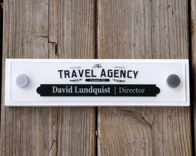Office Door Wooden Plaque with Acrylic Name Plate Personalized Office Decor Door Sign Professional Gift 10x2.5