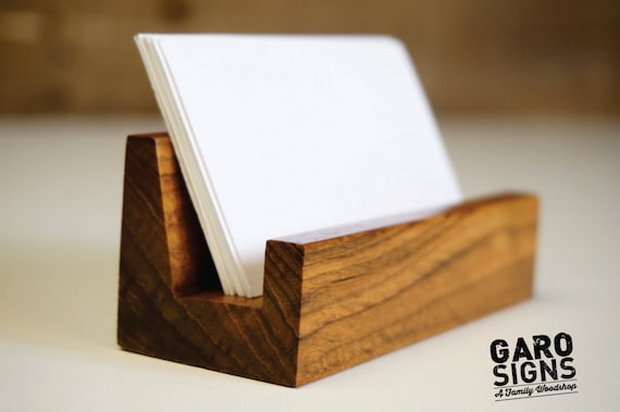 Business card holder business card stand rustic office etsy image 0 colourmoves