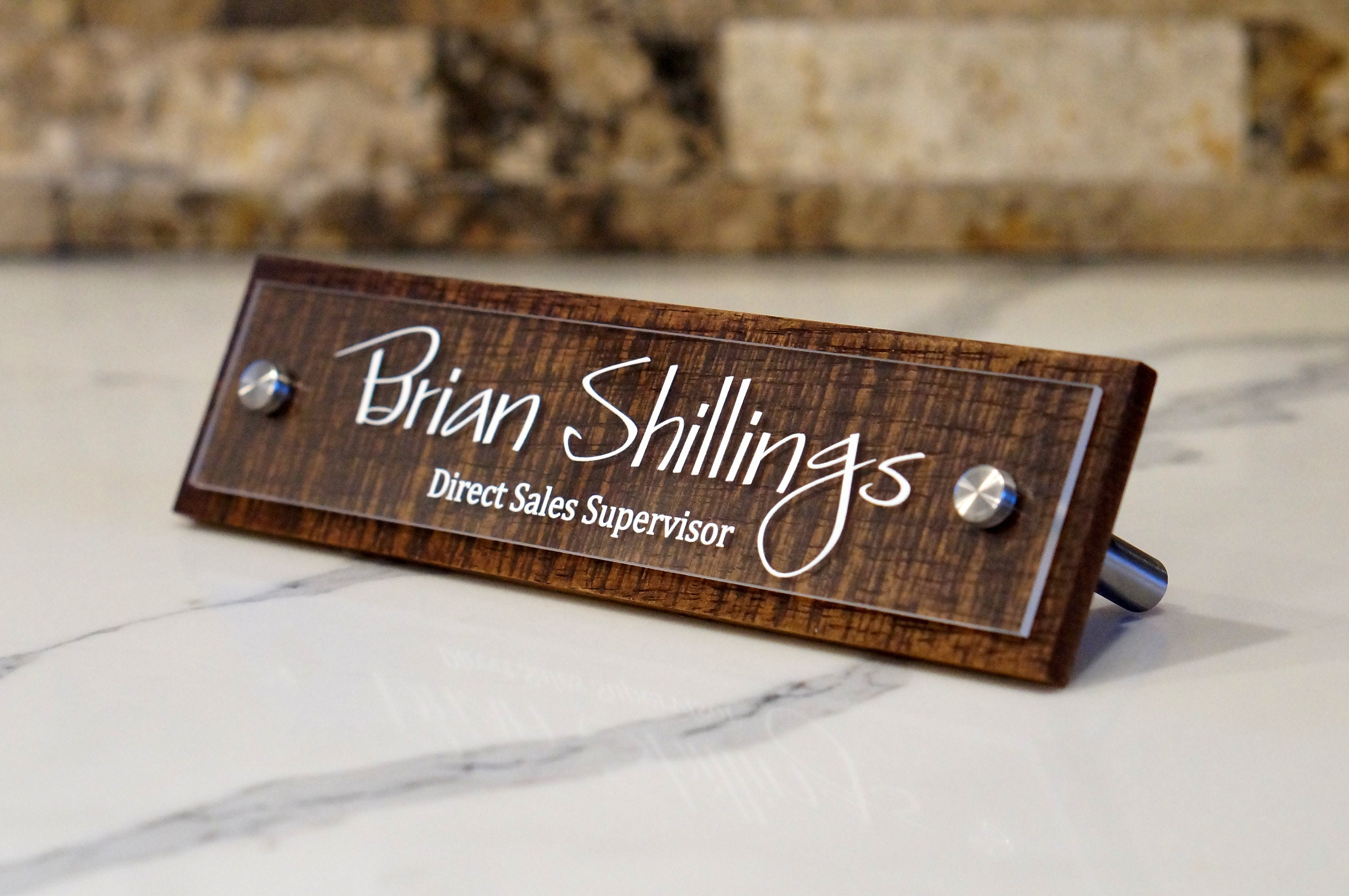 Name Plate: Rustic Desk Name Plate Personalized With Your Name And