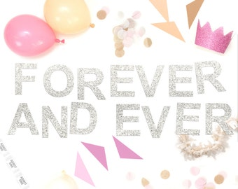 Forever And Ever Glitter Garland Party Decoration for Wedding, Hen Party or Engagement Celebration Venue Decor