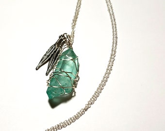 b2beb56ff6c Genuine Feather Charm Rough Cut Clear Green Jade Gemstone Wire Wrapped  Necklace with 18 inch Sterling Silver Chain