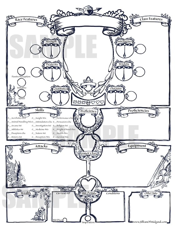 Pdf Printable Dungeons Dragons 5th Ed Character Sheet Bundle Etsy