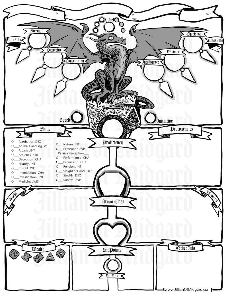 PDF downloadable Jillian of Midgard Illustrated D&D 5th ed Character Sheet  Pack