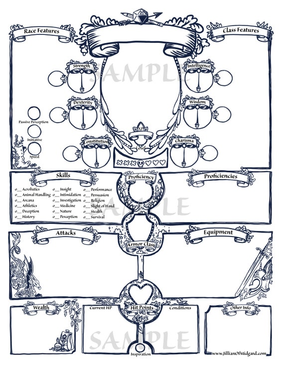 pdf printable dungeons dragons 5th ed character sheet bundle etsy. Black Bedroom Furniture Sets. Home Design Ideas