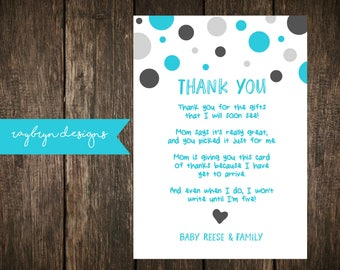 Blue & Grey | Baby Shower or Sprinkle | Thank you Card | Personalized | Printable file