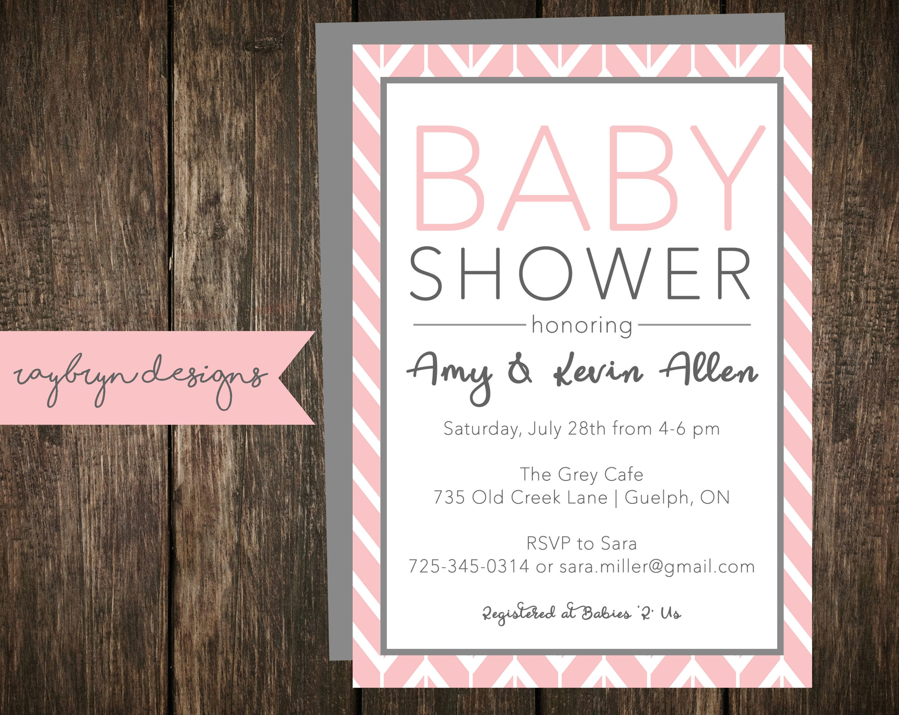 Pink And Grey Baby Shower Invitation Baby Girl White Background