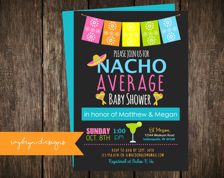 nacho average baby shower invitation fiesta theme shower cinco
