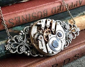 Steampunk Watch Movement, Steampunk Watch Jewelry, Watch Necklace, Steampunk Necklace