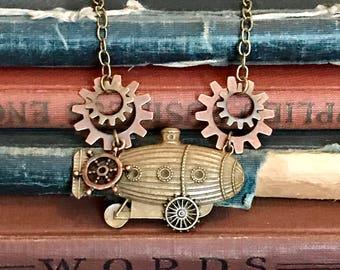 Steampunk Jewelry, Steampunk Zeppelin Necklace, Steampunk Men's Jewelry