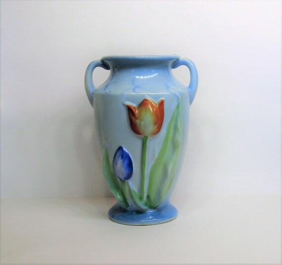 Vintage 30s Japanese Porcelain Tulip Vase Sky Blue Trico Bud Etsy