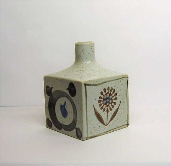 Otagiri Bud Vase Stoneware Pottery Ceramic Square Cube Mid Etsy