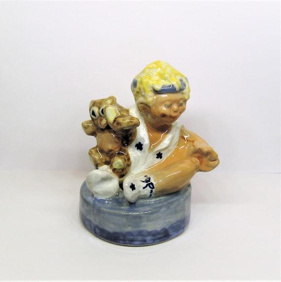 Louisville Stoneware Pottery Baby Child Figurine Flower Frog Ceramic Figural Bud Vase Pencil or Flag Holder