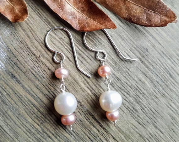 Genuine 8mm White And 6mm Champagne Blush Pearl Petite Dainty Earrings In 935 Argentium Silver