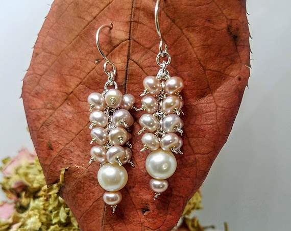 Genuine 8mm White And 6mm Champagne Blush Pearl Petite Dainty Earrings In 935 Argentium Silver Four Tier cluster Dangle Earrings