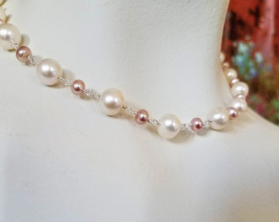 Genuine  8mm White And 6mm Blush Freshwater Pearl Necklace In 935 Argentium Silver Adjustable Length Necklace