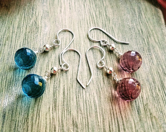 Faceted Quartz Onion Shape Briolette In Pink Or Blue With Smooth Round Beads In 935 Argentium Silver Dangle Drop Earrings