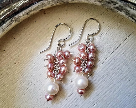 Genuine 8mm White And 6mm Pink Champagne Blush Pearl Petite Dainty Earrings In 935 Argentium Silver Three Tier Dangle Earrings