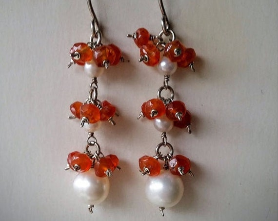 Natural Faceted Orange Carnelian And Freshwater Pearl Gemstone Long Dangle Earrings