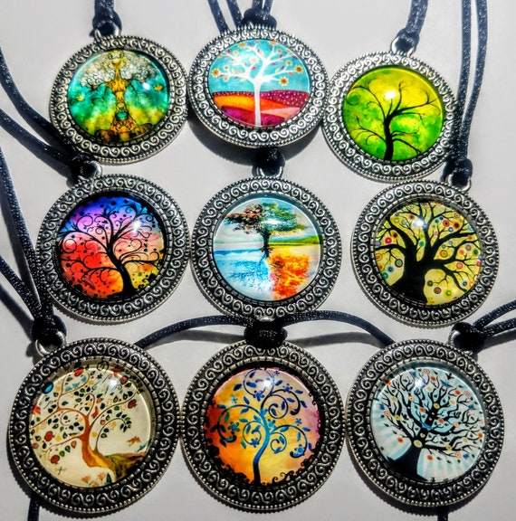 """Psychedelic Round Glass And Lead Free Safe Pewter Tree of Life Charm Pendant On 19"""" to 20"""" Black Silk Cord"""
