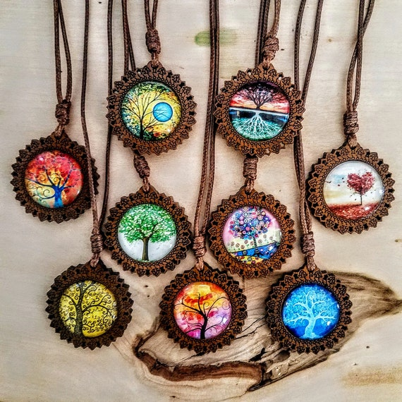 Psychedelic Round Glass And Carved Wood Tree of Life Charm Pendant