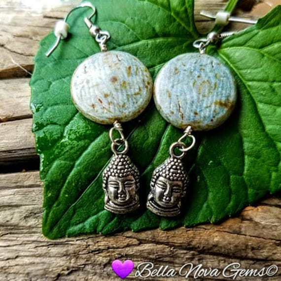 Blue Green Ceramic Flat Bead Buddha Dangle Earrings