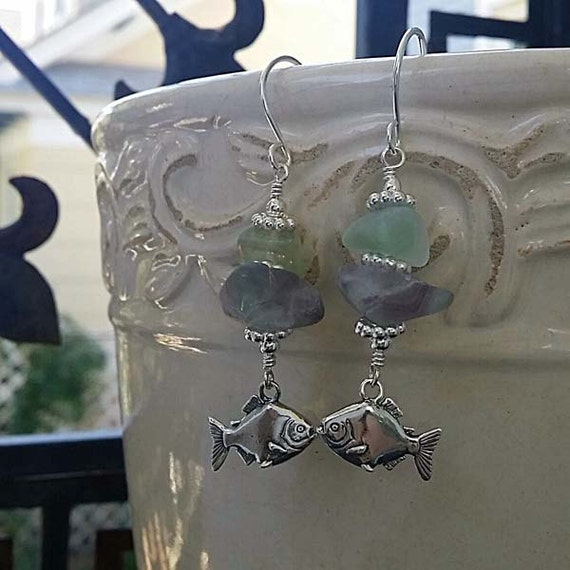 Pastel Fluorite Sterling Argentium Silver Piranha Charm Wire Wrap Earrings