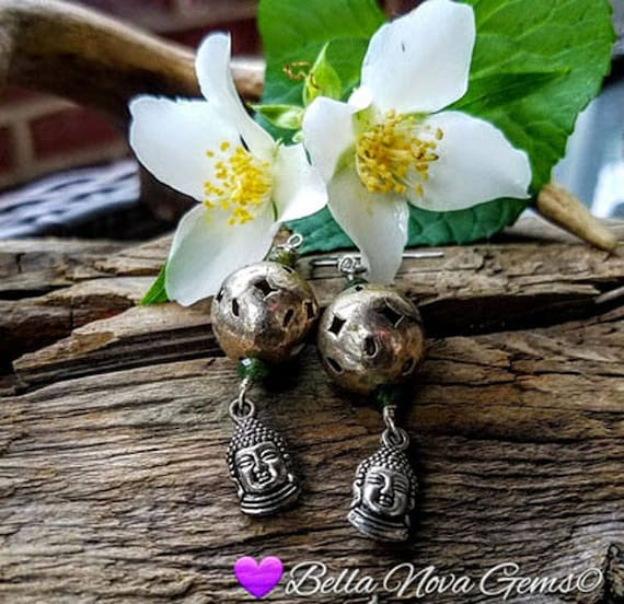 Silver Buddha Earrings Gemstone Antique Boho Bead Dangle Earrings