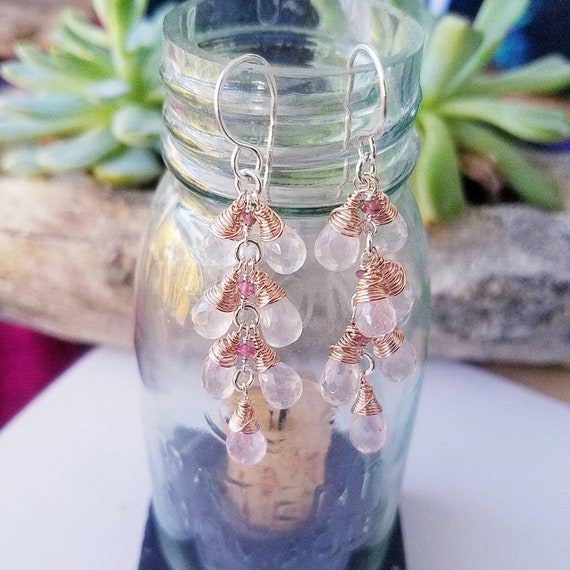 Rose Quartz Faceted Briolette Pink Tourmaline Mixed Metal 14K Rose Gold Filled And Argentium Silver Dangle Earrings