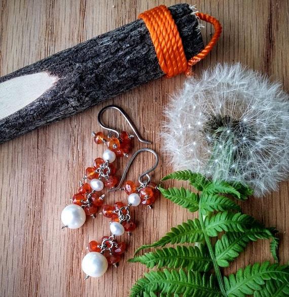 Natural Faceted Orange Carnelian And Freshwater Pearl Gemstone Earrings