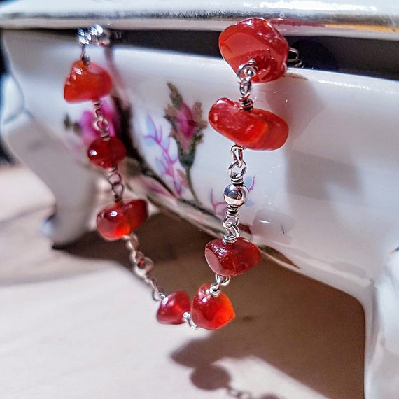 """Orange Natural Carnelian Delicate Pebble and Argentium Silver 8"""" Long Chain And Link Bracelet"""