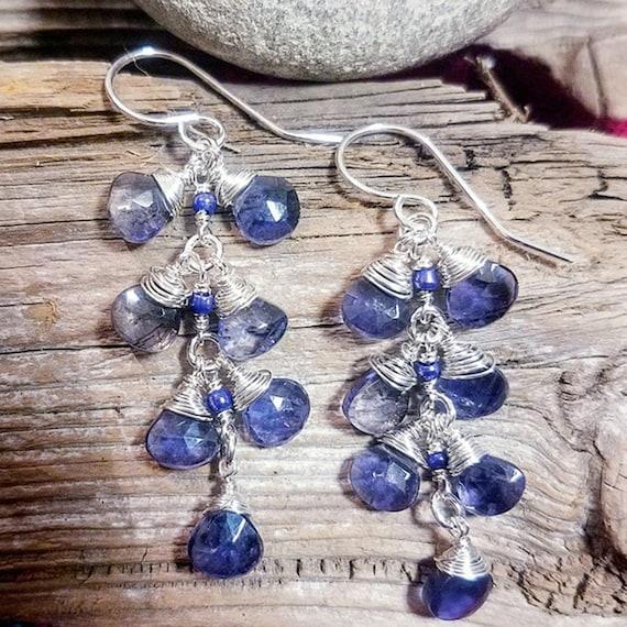 Iolite And Lapis Lazuli Natural Genuine Gemstone Teardrop Briolette Dangle Earrings in 935 Argentium Silver
