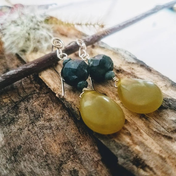 Natural Gemstone Green Olivine And Indian Agate In 935 Argentium Silver Earrings
