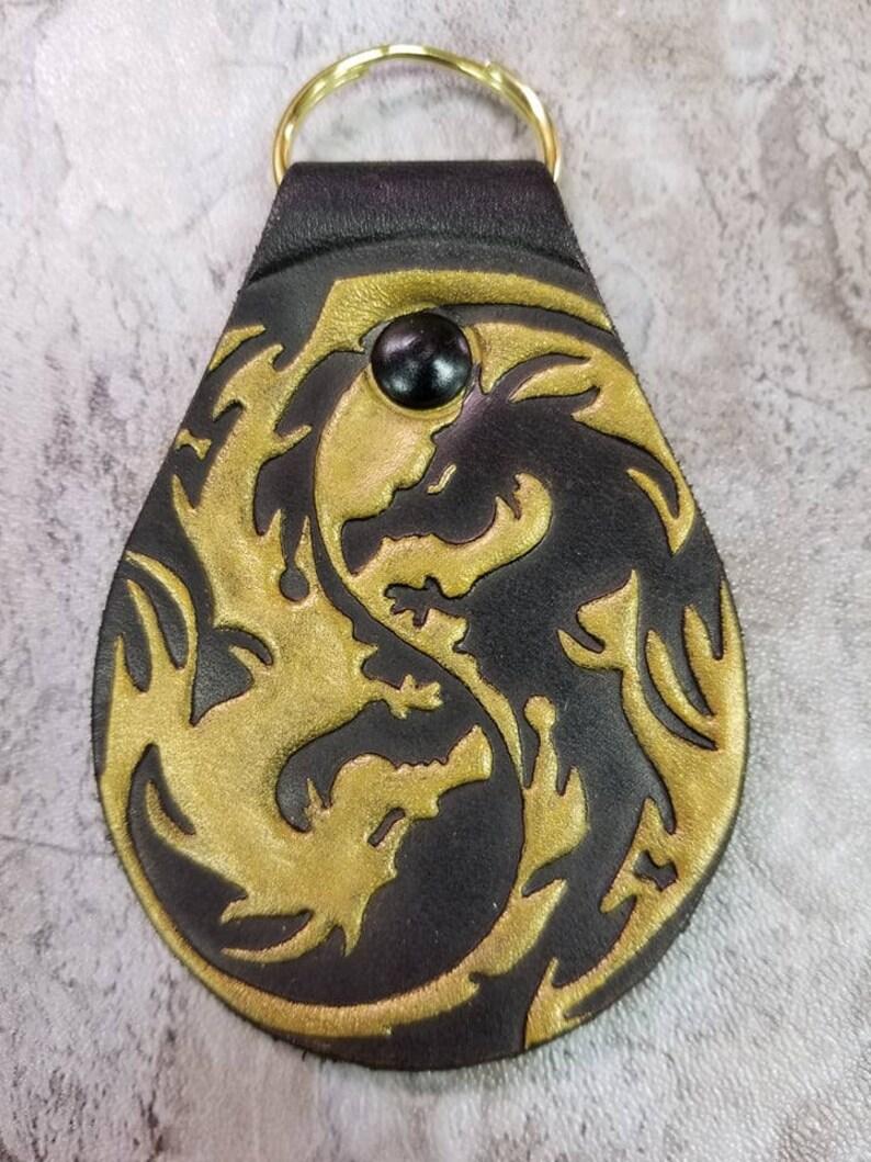 Dragon Yin Yang Keychain Zipper Pull Key Chain Key Fob image 0
