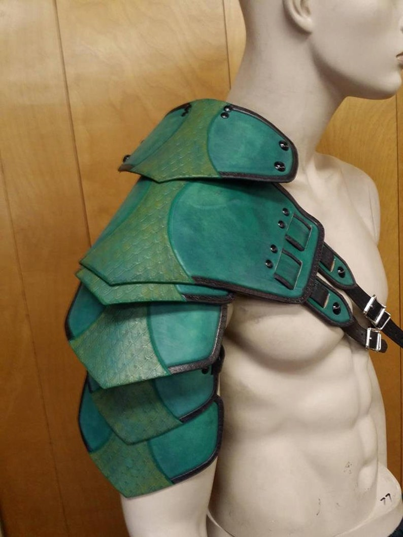 Leather Armor Ornate Double Strap Shoulder image 0