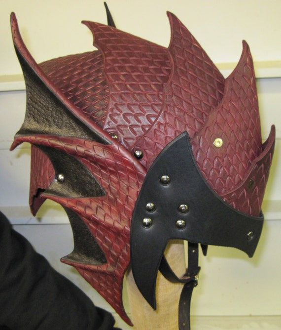 Leather Armor Gothic Dragon Scale Helmet Etsy Here is the new pic as promised of the dragon armor helmet. leather armor gothic dragon scale helmet