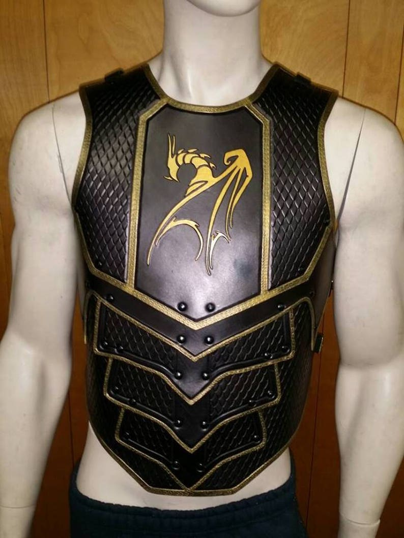 Leather Armor Dragon Scale chest & back with graphic image 0