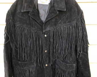 296ab1fa5c4 Vintage Schott Western Genuine Suede Cowhide Leather Jacket - Size 48 (Made  in USA)