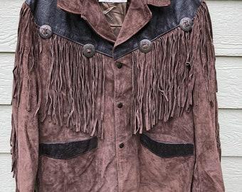 a489a95165d Vintage Schott Western Genuine Suede Cowhide Leather Jacket - Size 42 (USA)