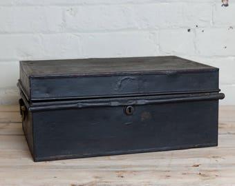 Vintage Black metal cash  box, tin, original interior,  storage, office, den, metro home,industrial home, man cave, vintage shop, money box