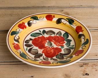 Vintage European Handpainted Plate, handpainted bowl, floral dish, decorative vintage plate, european earthenware, european glazed plate